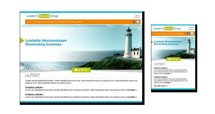 Nettisivusto / Leaders Beacon Group: Nettisivusto, logo, markkinointimateraalit