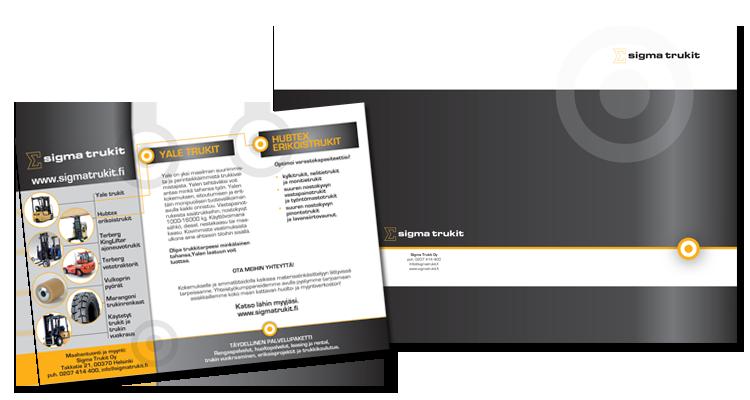 Imagon vahvistaminen / Sigmatrukit Oy: Esitteet, folderit, käyntikortit, lehti-ilmoitukset
