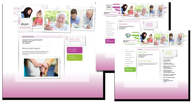 Nettisuunnittelu / Arjen ihmeitä: Logo, imago, websivut, lehti-ilmoituspohjat