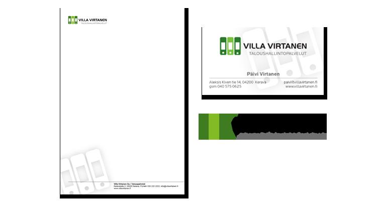 Imago / Tilitoimisto Villa Virtanen: logo, officemateriaalit,
