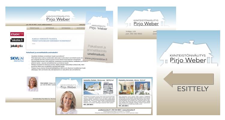 Imago / Kiinteistövälitys Pirjo Weber: Websivusto, lehti-ilmoituspohjat, julisteet, käyntikortit